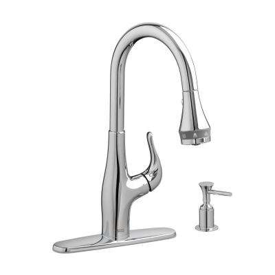Xavier SelectFlow Single-Handle Pull-Down Sprayer Kitchen Faucet with Soap Dispenser in Polished Chrome