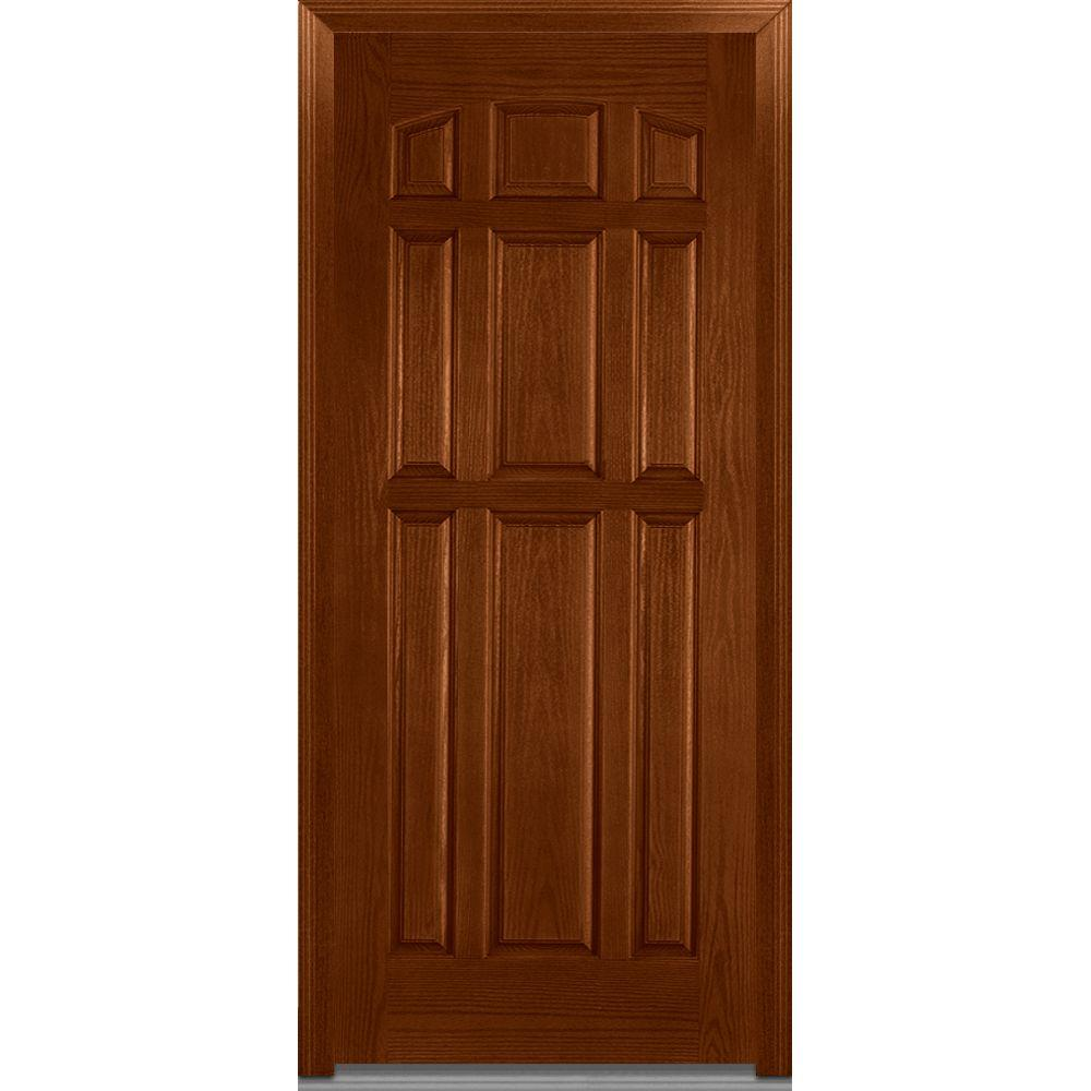 Mmi Door 36 In X 80 In Severe Weather Left Hand Outswing 9 Panel Stained Fiberglass Oak