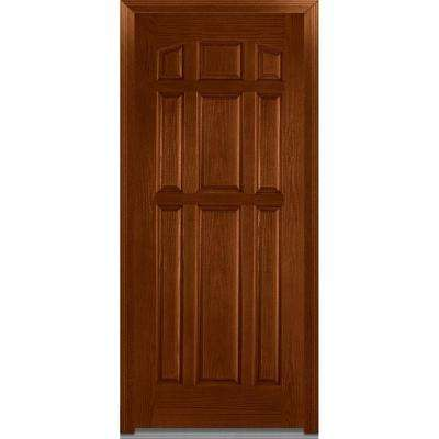 36 in. x 80 in. Severe Weather Right-Hand Outswing 9-Panel Stained Fiberglass Oak Prehung Front Door