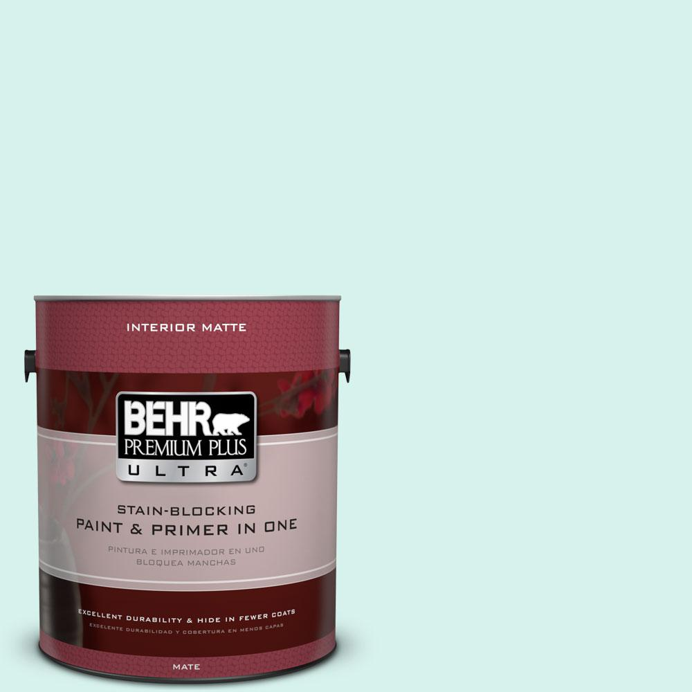 BEHR Premium Plus Ultra 1 gal. #480A-1 Minted Ice Matte Interior Paint and Primer in One