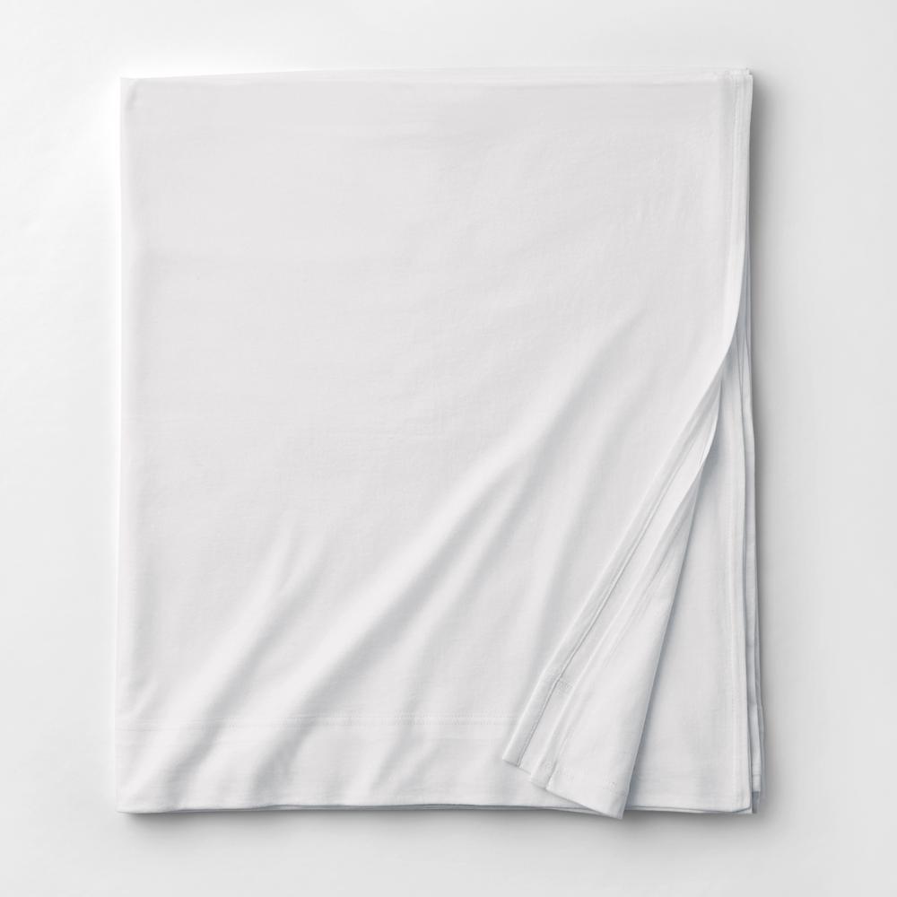 Organic Cotton Jersey Knit White Solid Full Flat Sheet