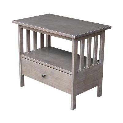 Mission 28 in. Weathered Taupe Gray Wood TV Stand with 1 Drawer Fits TVs Up to 30 in. with Cable Management