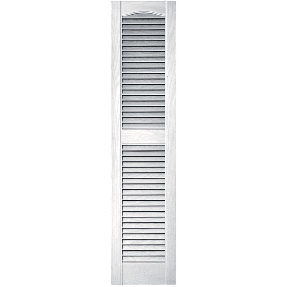 12 in. x 52 in. Louvered Vinyl Exterior Shutters Pair in