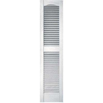 12 in. x 52 in. Louvered Vinyl Exterior Shutters Pair in #117 Bright White