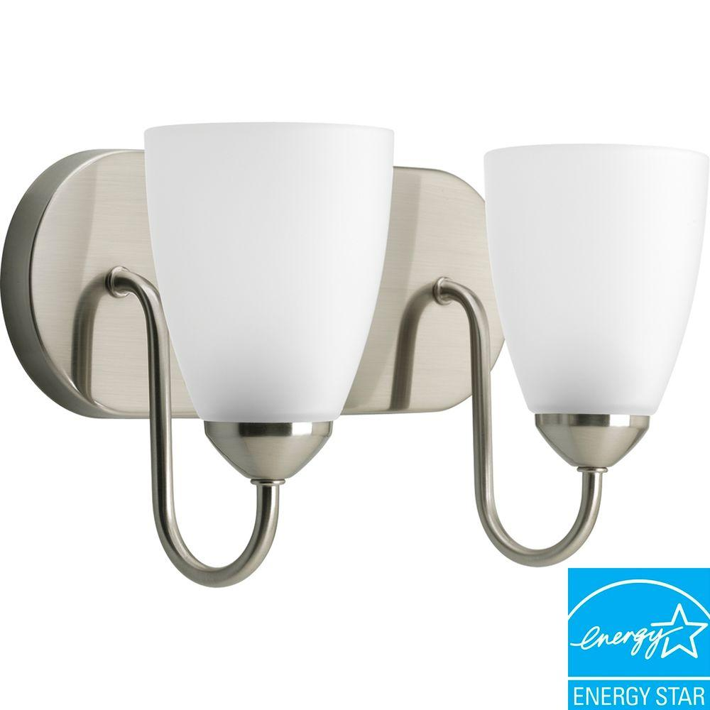 Gather Collection 2-Light Brushed Nickel Fluorescent Vanity Fixture