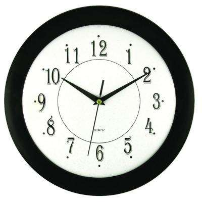 11-3/4 in. Glass and Black Wall Clock