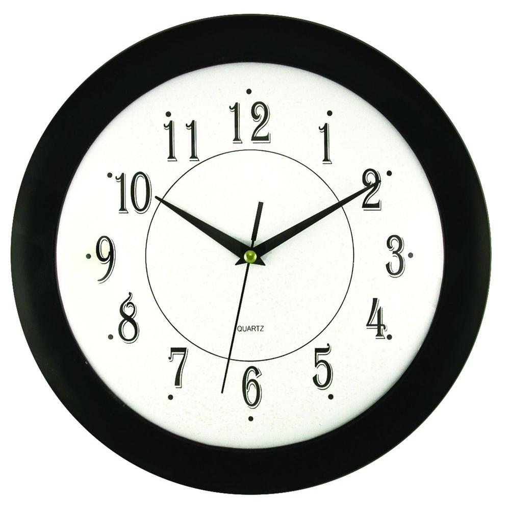 Timekeeper Products 11-3/4 in. Glass and Black Wall Clock