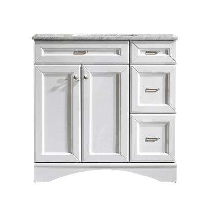Naples 36 in. W x 22 in. D x 35 in. H Vanity in White with Marble Vanity Top in White with Basin