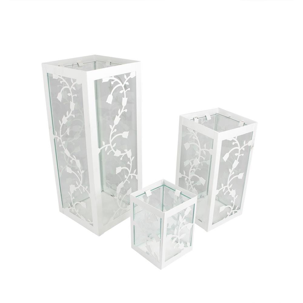 12 in. White French Country Garden Floral Pillar Candle Holder Lanterns