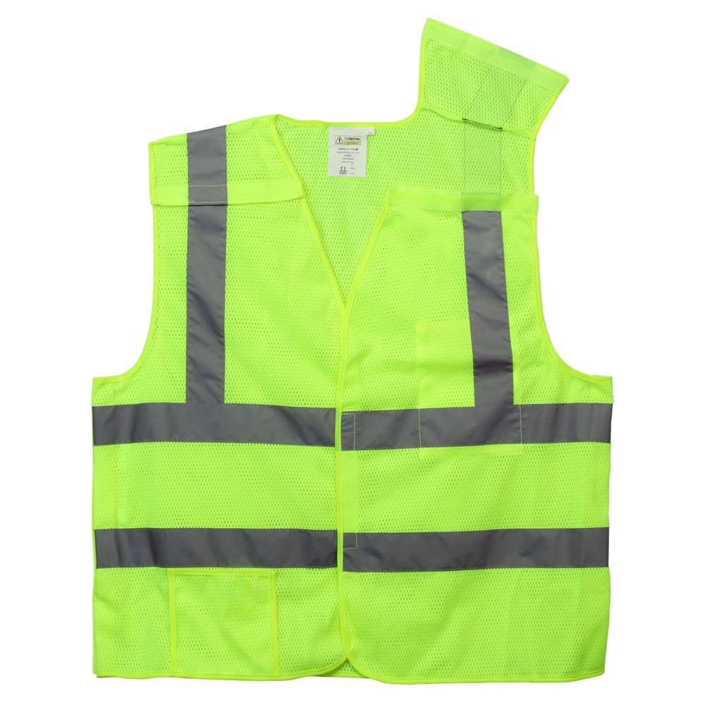 Cordova Cordova High Visibility Class II X-Large Lime Green Reflective 5 Point Breakaway Safety Vest, Adult Unisex, High Vis Lime Green