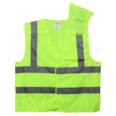 High Visibility Class 2 X-Large Lime Green Reflective 5 Point Breakaway Safety Vest