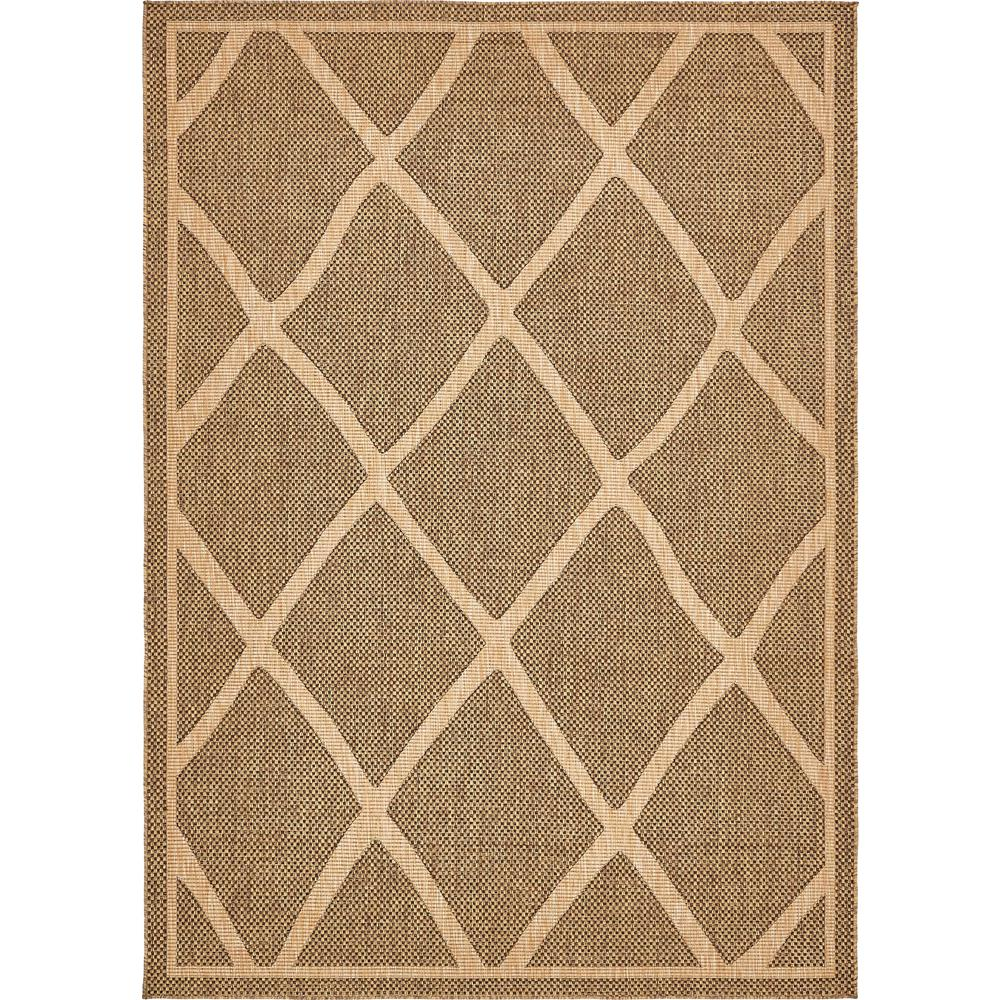 Outdoor Rug 7 X 10: Unique Loom Outdoor Brown 7 Ft. X 10 Ft. Area Rug-3135645