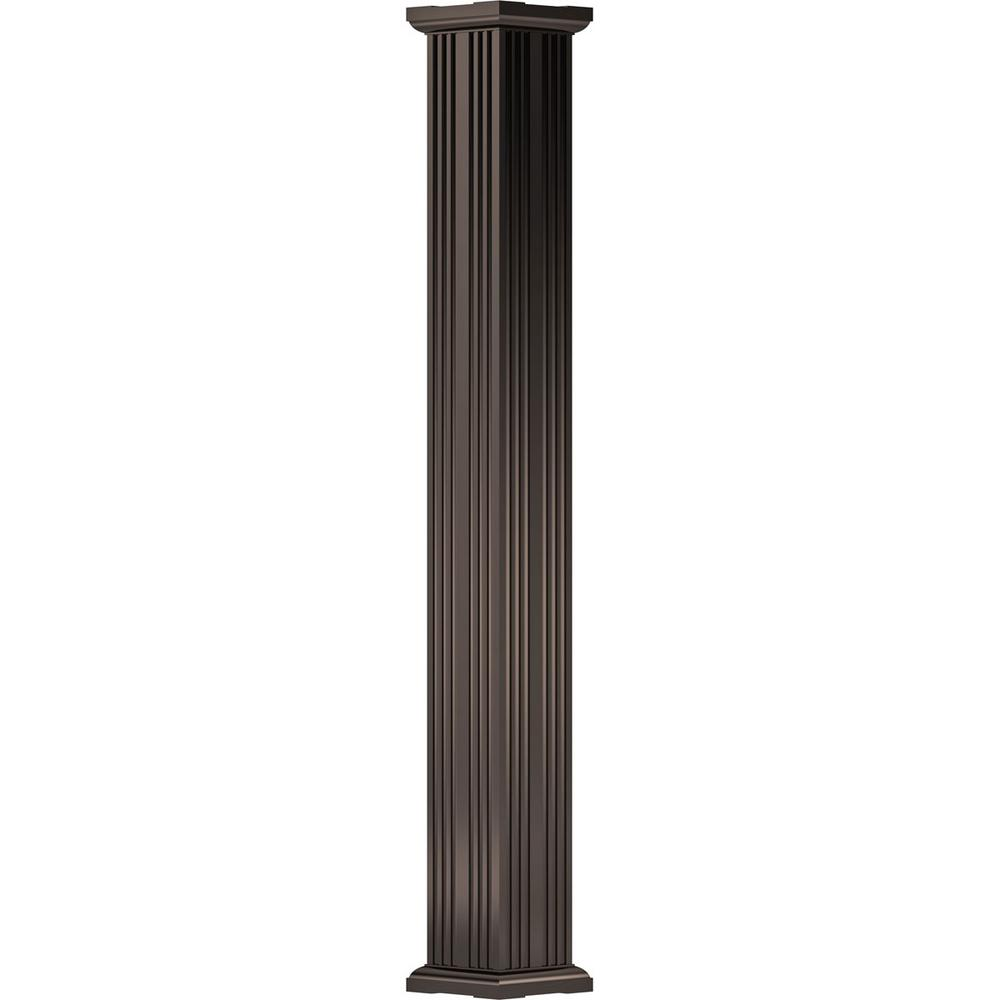 12 in. x 8 ft. Textured Brown Non-Tapered Fluted Square Shaft