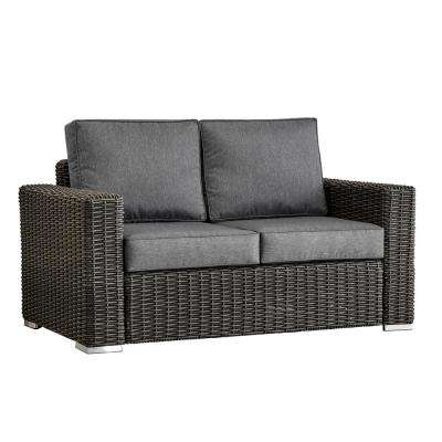 Camari Charcoal Square Arm Wicker Outdoor Loveseat with Gray Cushion