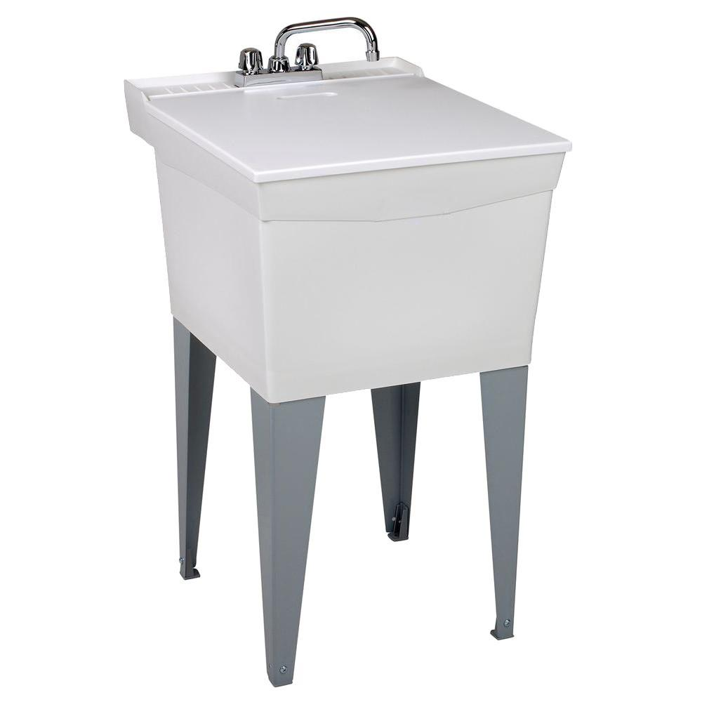 MUSTEE Utilatub Combo 20 in. x 24 in. x 33 in. Thermoplastic Floor Mount Laundry Tub