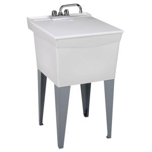 MUSTEE 20 inch x 24 inch Plastic Floor-Mount Laundry Tub by MUSTEE
