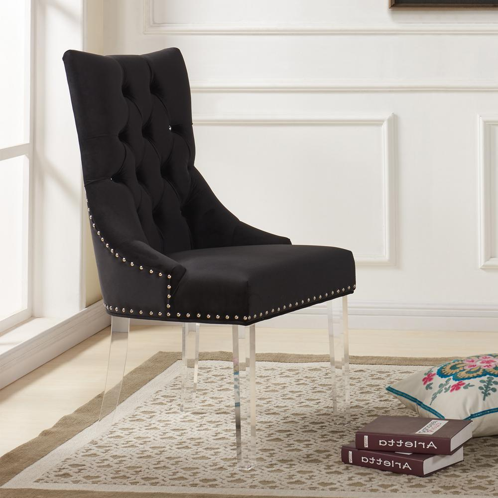 Black velvet and acrylic finish modern tufted dining chair