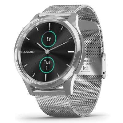 vivomove Luxe Hybrid Smart Watch in Silver Stainless Steel Case with Silver Milanese Band