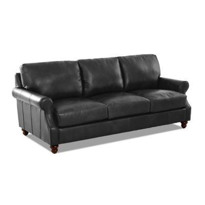 Winston Leather Down Blend Oversized Sofa in Charcoal