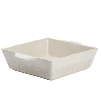 Home Collection 8 in. x 8 in. French Vanilla Ceramic Square Baker