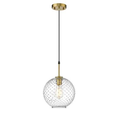 Manika 1-Light Brushed Gold Pendant with Clear Glass Shade