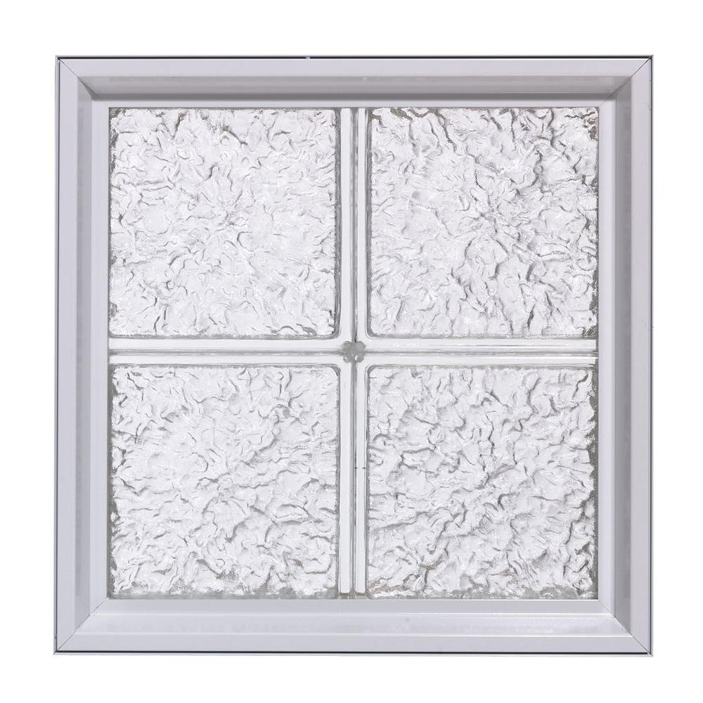 Pittsburgh Corning 40 in. x 64 in. LightWise IceScapes Pattern Aluminum-Clad Glass Block Window