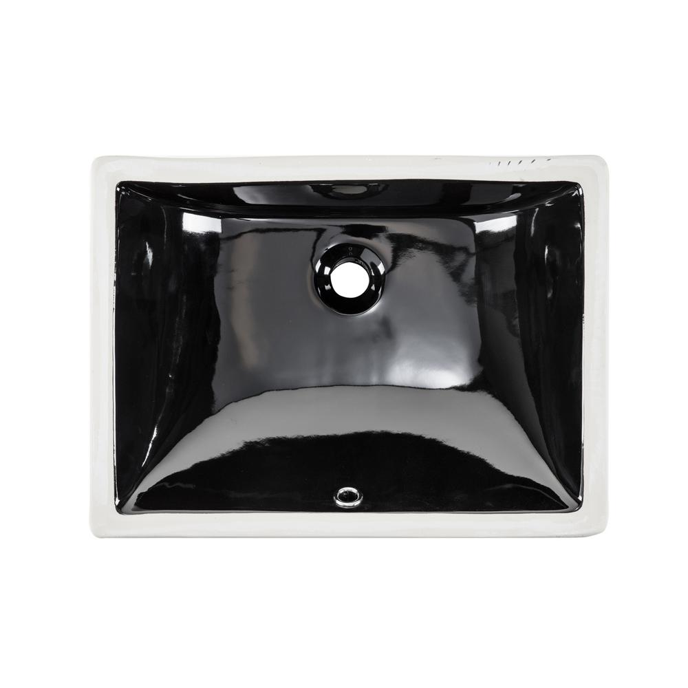 IPT Sink Company Rectangular Glazed Ceramic Undermount Bathroom Vanity Sink in Black