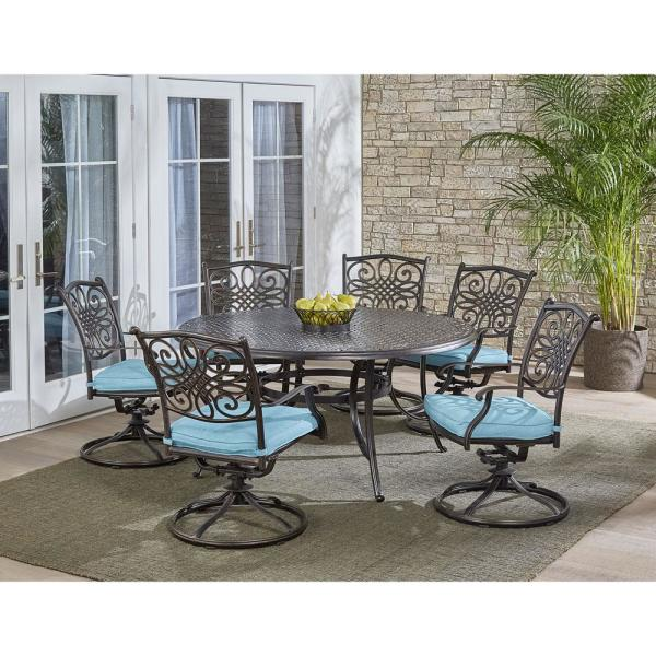 Traditions 7-Piece Aluminum Outdoor Dining Set with 6 Swivel Rockers with Blue Cushions and Cast-Top Table