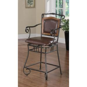Cool 24 In Brown Leatherette And Bronze Metal Swivel Square Bar Stool Machost Co Dining Chair Design Ideas Machostcouk