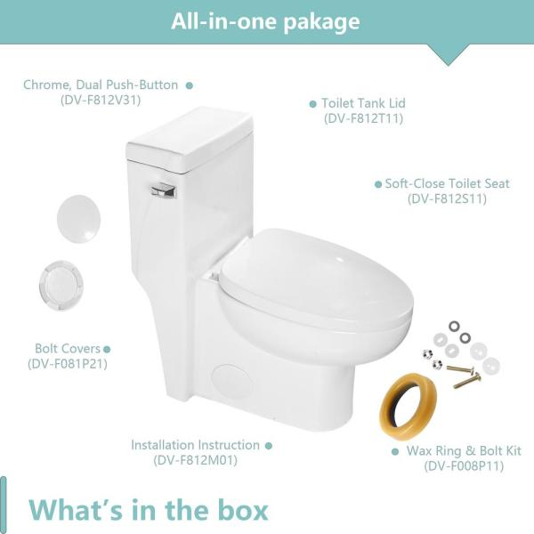 Parnell 12 In Rough In 1 Piece 0 8 1 28 Gpf Dual Flush Round Toilet In White Seat Included Mtslh35001c The Home Depot