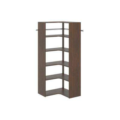 30 in. D x 30 in. W x 72 in. H Espresso Wood Corner Closet Kit