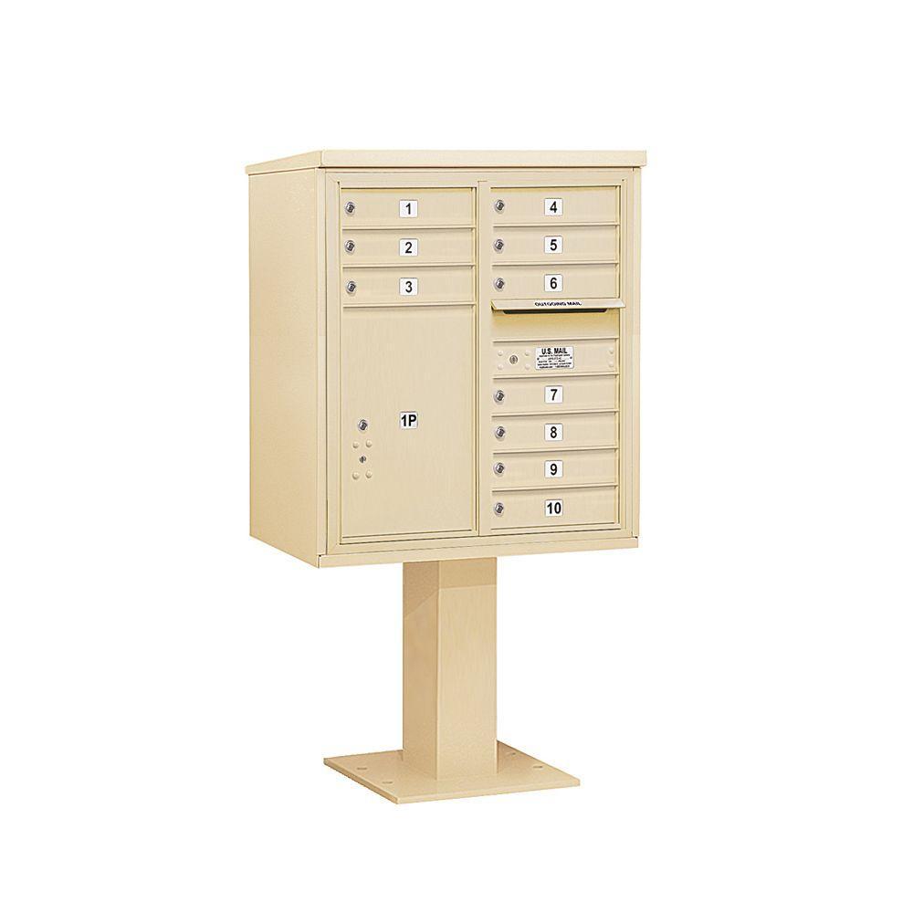 3400 Series 62-1/8 in. 9 Door High Unit Sandstone 4C Pedestal Mailbox with 10 MB1 Doors/1 PL6