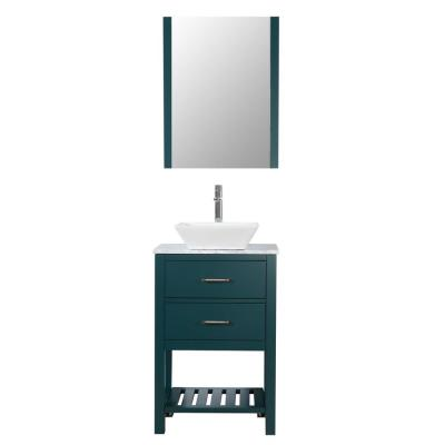 Santa Monica 24 in. W x 18 in. D Bath Vanity in Hunter Green with Carra Marble Top in White with White Basin and Mirror
