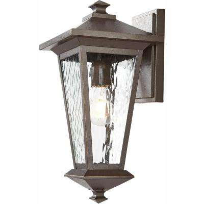 1-Light Oil Rubbed Bronze with Gold Highlights Outdoor 6.5 in. Wall Lantern Sconce with Clear Water Glass