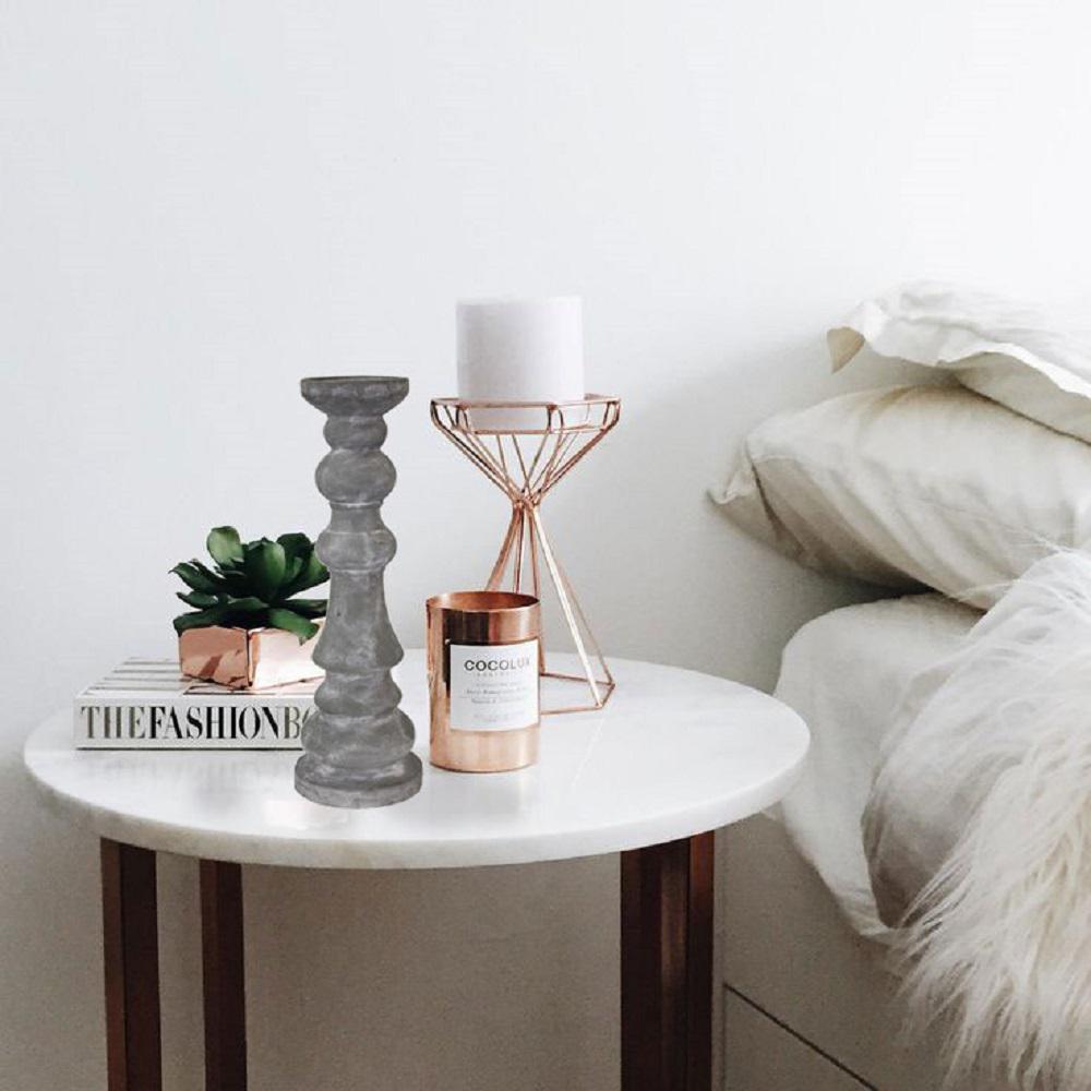 Gray Finish Pillar Like  Simply Designed Medium Sized Candle Holder
