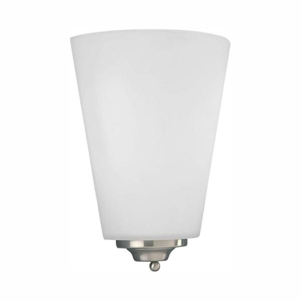 1-Light Brushed Nickel Integrated LED Wall Sconce with Etched Opal Glass