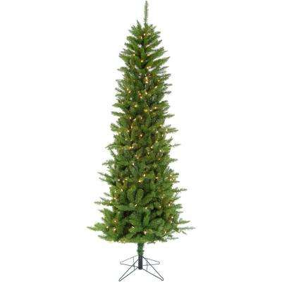 6.5 ft. LED Winter Wonderland Slim Green Christmas Tree with Warm White Lights