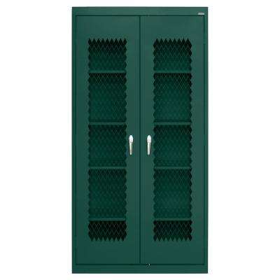 72 in. H x 36 in. W x 24 in. D Steel Freestanding Expanded Metal Front Cabinet in Forest Green