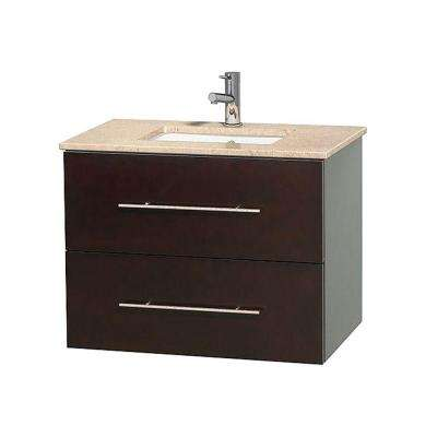 Centra 30 in. Vanity in Espresso with Marble Vanity Top in Ivory and Undermount Sink