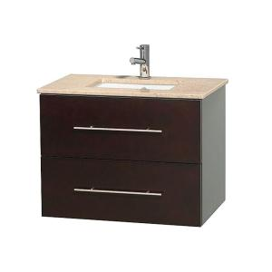 Wyndham Collection Centra 30 inch Vanity in Espresso with Marble Vanity Top in Ivory and Undermount Sink by Wyndham Collection