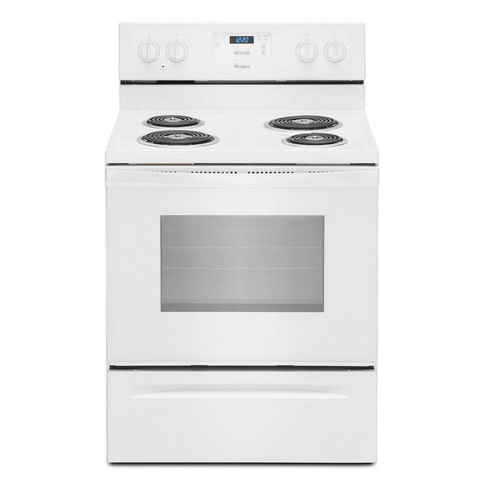 Whirlpool 4 8 Cu Ft Freestanding Electric Range Oven In White Counter Depth Wfc150m0ew The Home Depot