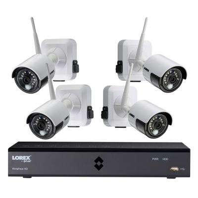 6-Channel 1080p High Definition 1TB HDD Surveillance DVR System 4x1080p Indoor/Outdoor Wire-Free Cameras, Remote Viewing
