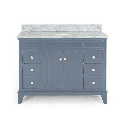 Finlee 48 in. W x 22 in. D Bath Vanity with Carrara Marble Vanity Top in Grey with White Basin