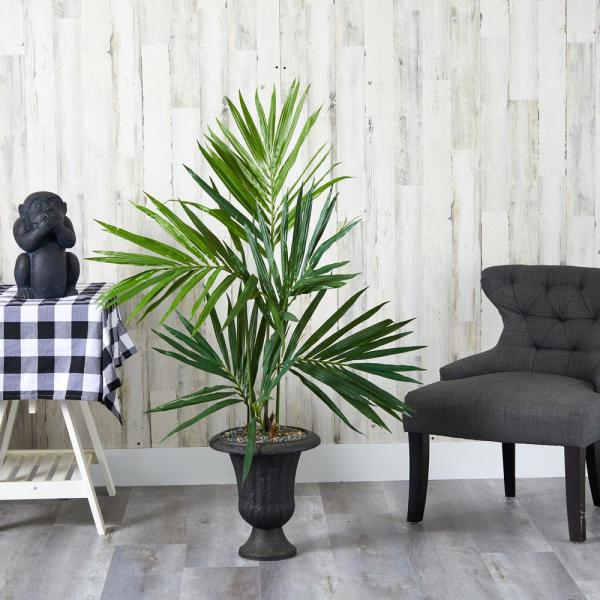 52 in. Kentia Artificial Palm Tree in Charcoal Urn