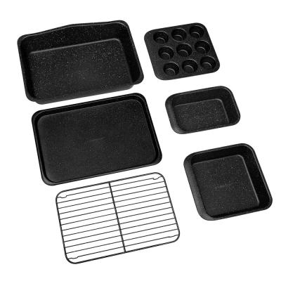 Stack Master 6-Piece Mineral and Diamond Infused Non-Stick Space Saving Stackable Bakeware Set