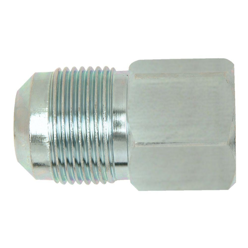 BrassCraft 5/8 in. O.D. Flare (15/16-16 Thread) x 1/2 in. FIP Steel Gas Fitting BrassCraft's Steel Female Gas Fitting adapts gas connector nut to appliance inlet or gas supply. These fittings are manufactured from solid bar stock for a seamless, durable design. The flared end of the fitting connects to the gas connector nut. The male end connects to the gas appliance inlet, gas ball valve or gas supply stub out. Fitting is used with 5/8 in. O.D. gas connectors for appliances with larger BTU demands such as a 5 or 6 burner stove, furnace or boiler.