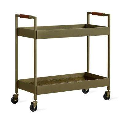 Stella Brass Finish Bar Cart with Brown Leather Wrapped Handles