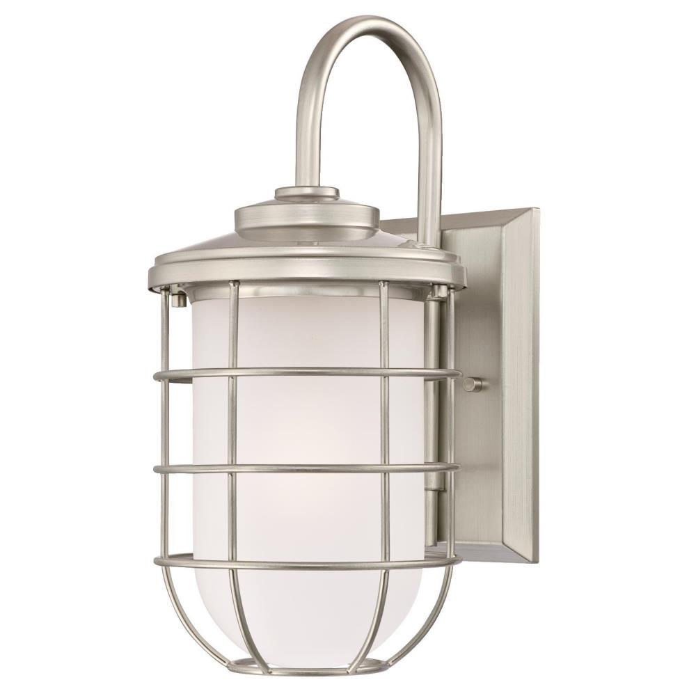 Westinghouse Ferry 1 Light Brushed Nickel Outdoor Wall Lantern Sconce 6348000 The Home Depot