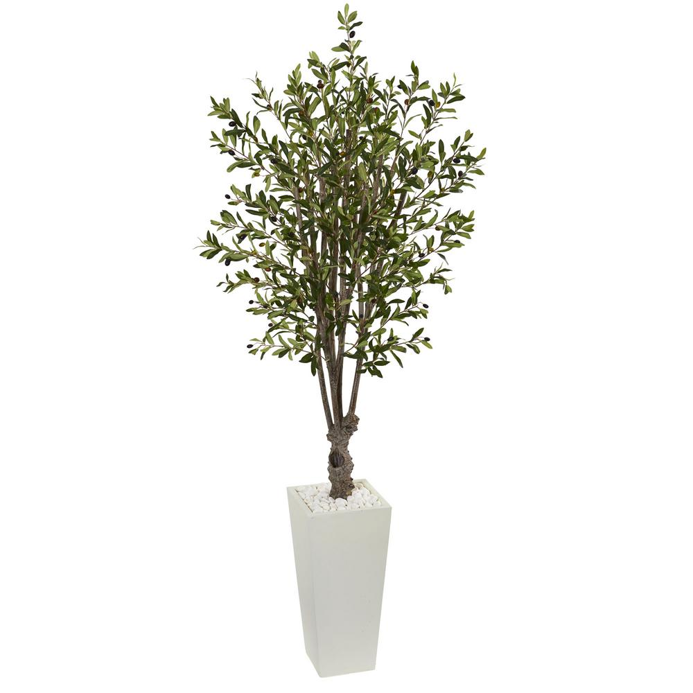 Nearly Natural 6 Ft Olive Artificial Tree In White Tower Planter