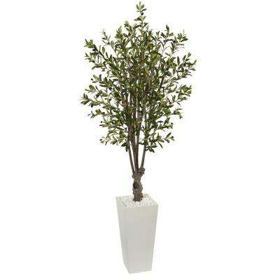6 ft. Olive Artificial Tree in White Tower Planter